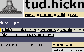Screenshot vom tud.hicknhack.org Forum
